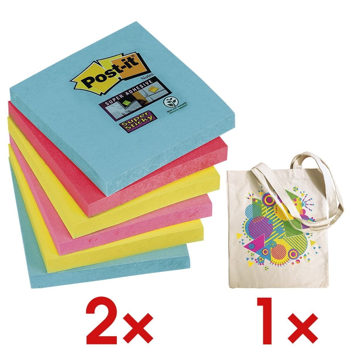 Post-it Super Sticky 2x 6er-Set Haftnotizblöcke inkl. 1x Stofftasche »Miami« 1 Set