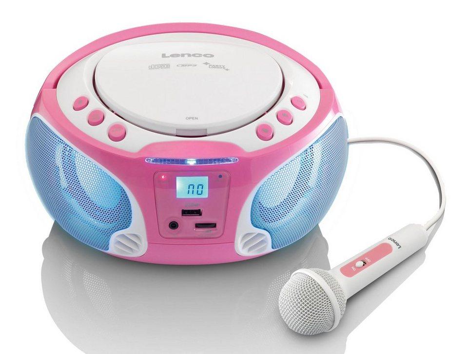 lenco tragbares ukw radio mit cd mp3 player licht. Black Bedroom Furniture Sets. Home Design Ideas