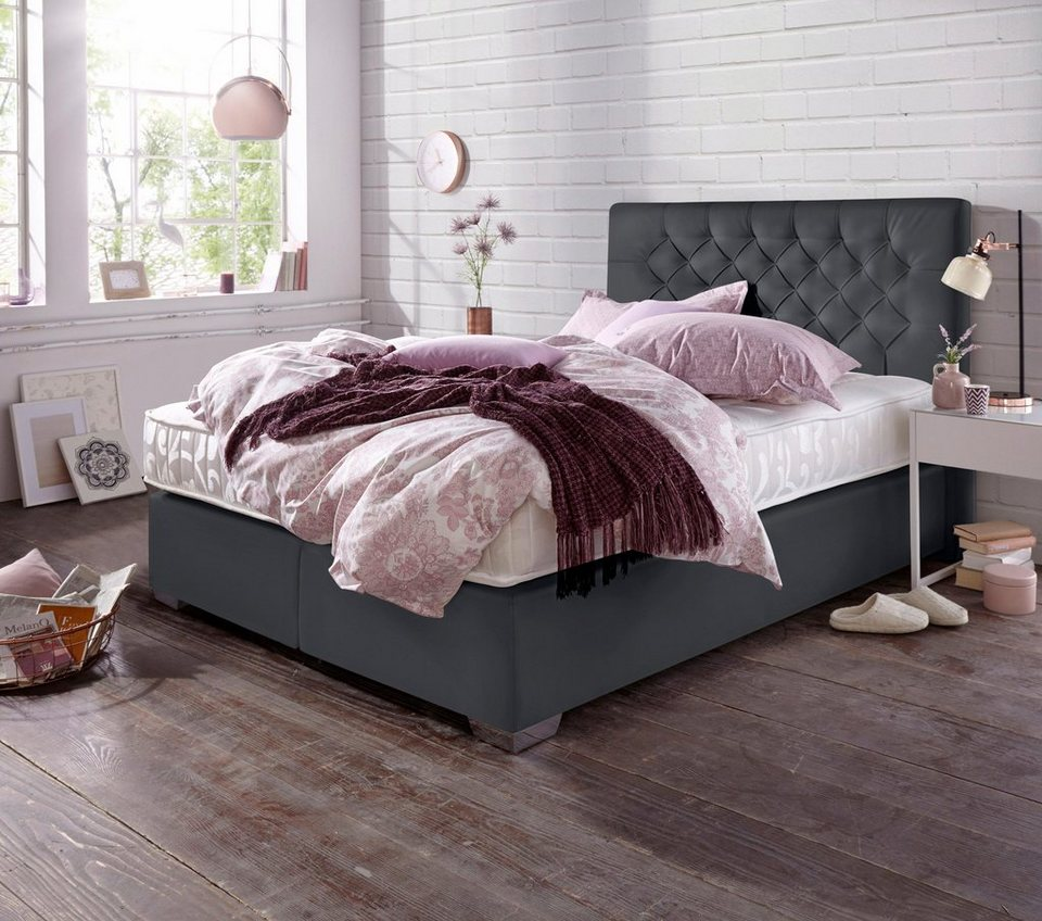 atlantic home collection boxspringbett colmar mit kunstlederbezug online kaufen otto. Black Bedroom Furniture Sets. Home Design Ideas