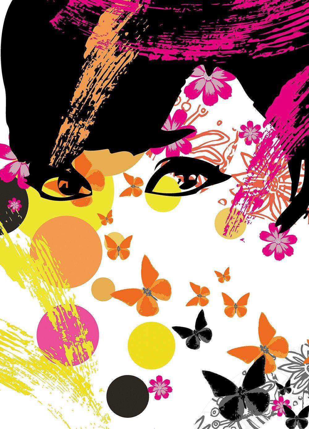 IDEALDECOR Fototapete »Floral Girl«, 4-teilig, 183x254 cm