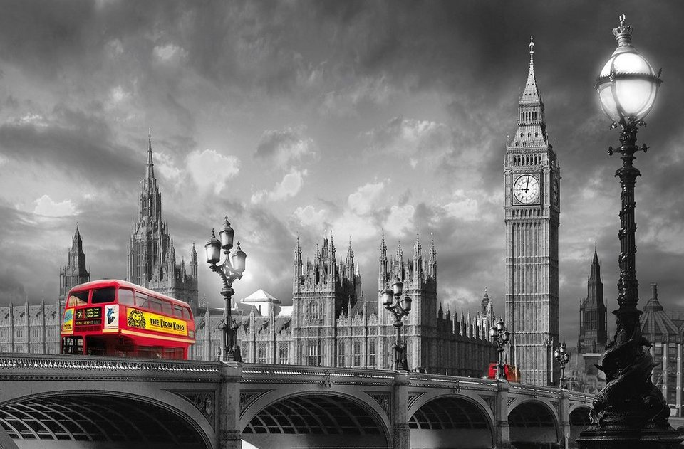 idealdecor xxl poster giant art bus on westminster. Black Bedroom Furniture Sets. Home Design Ideas