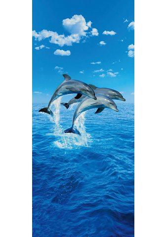 IDEALDECOR Durų tapetas »Three Dolphins« 2 vnt. r...