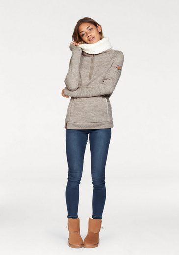 KangaROOS Sweatshirt, mit kuscheligem Plüschfell-Kragen