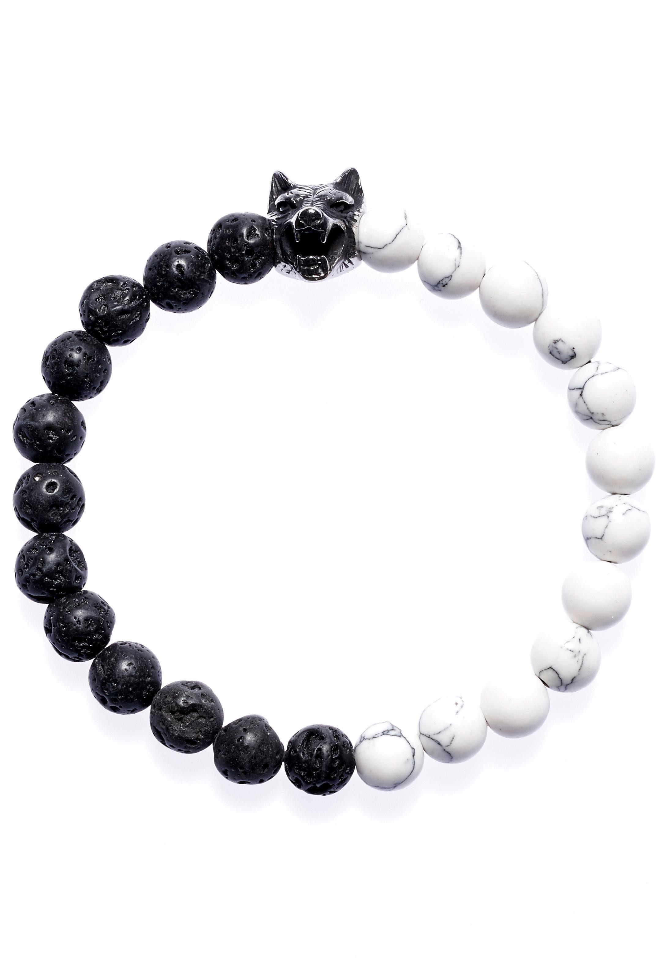 ROYAL EGO Armband »Wolfsblut black white, 1251« mit Lavasteinen und Türkisen