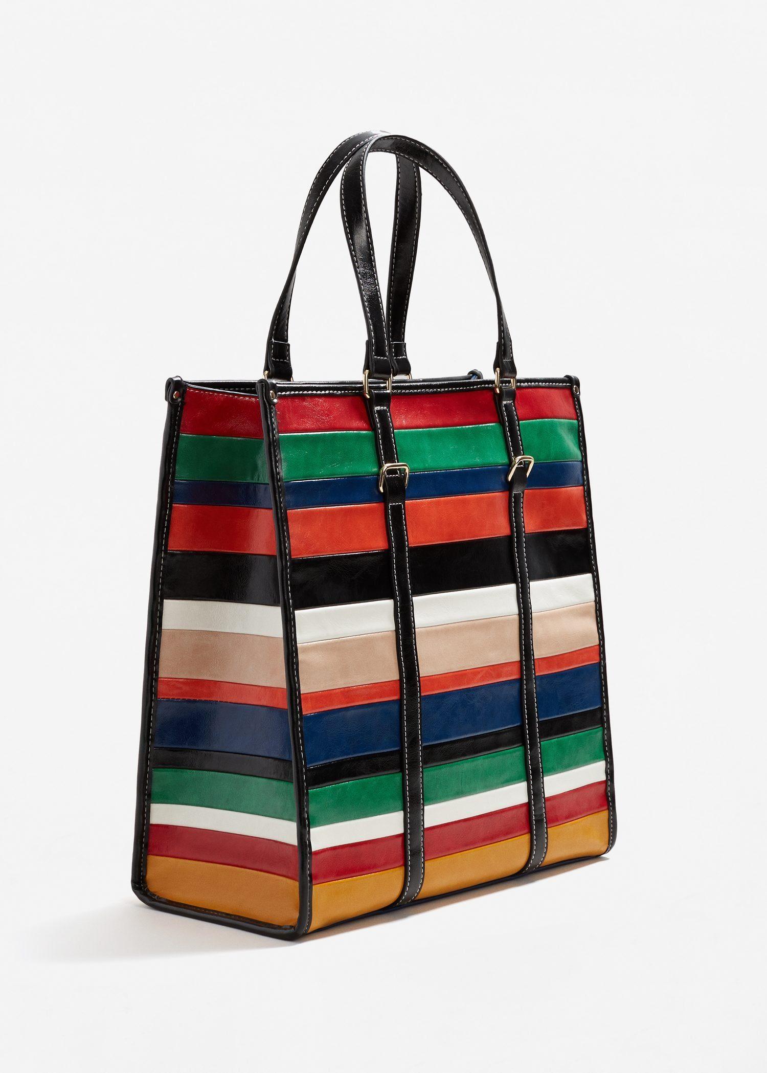 MANGO Shopper-Tasche mit Streifen