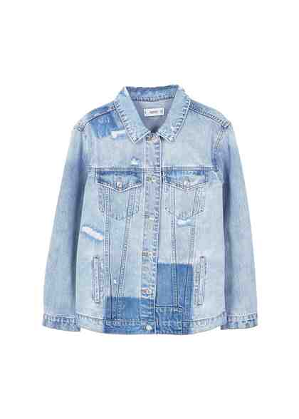 MANGO Oversized Jeansjacke mit zerrissenen Details