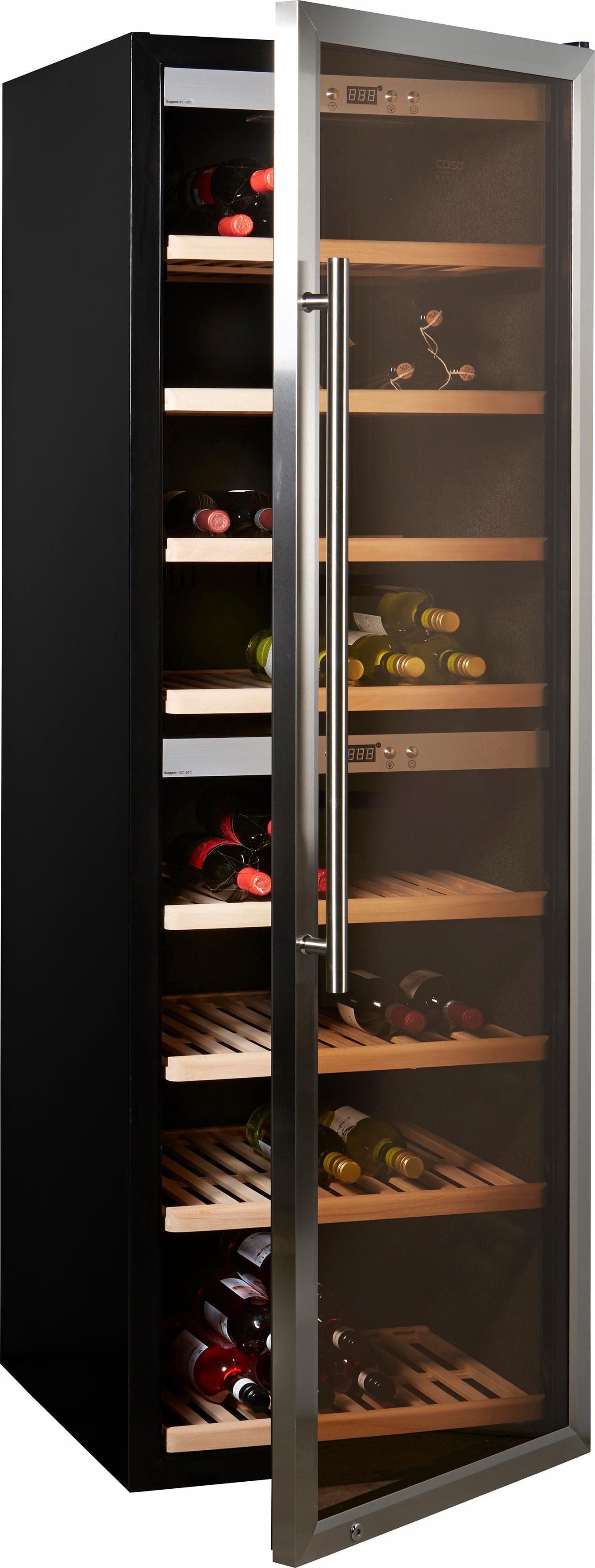 Caso Weinkühlschrank WineComfort 180, für 180 Standardflaschen á 0,75l,Höhe 186 cm, für 180 Bordeauxflaschen á 0,75l, Design-Gerät