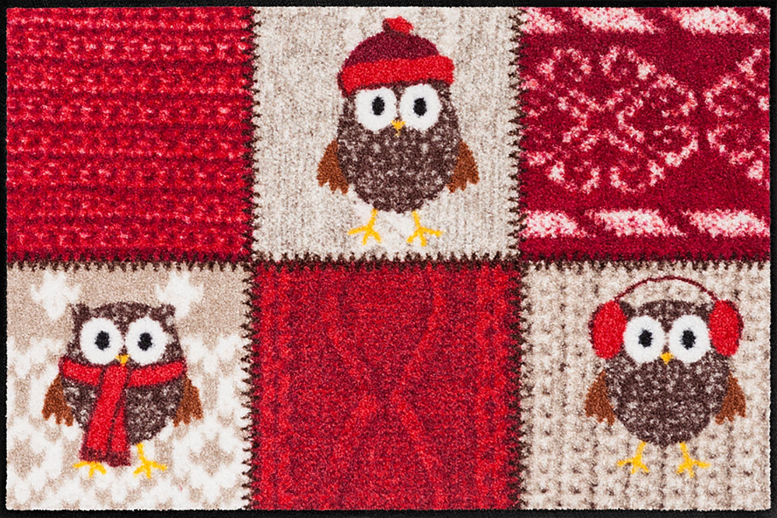 Fußmatte »Winter Owls Red«, Salonloewe, rechteckig, Höhe 6 mm