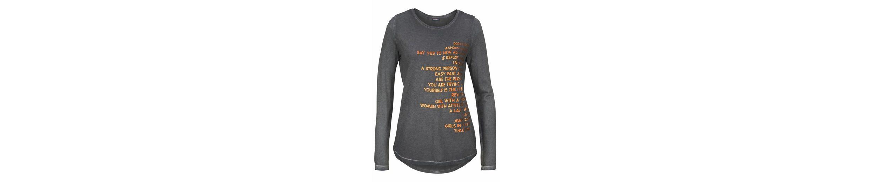 TIMEZONE Langarmshirt, Rock`n Roll Longsleeve, leichter Oilwash-Effekt, Druck