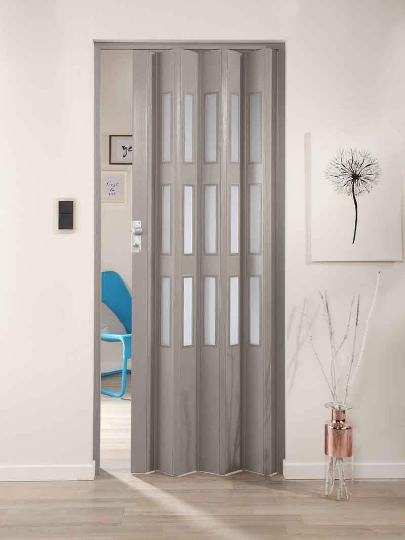 Falttür »Elvira«, Höhe nach Maß, grau gewebt mit satinierten Fenstern
