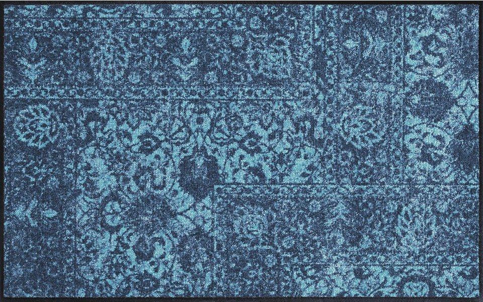 Outdoor-Teppich in Blautönen mit orientalischer Musterung
