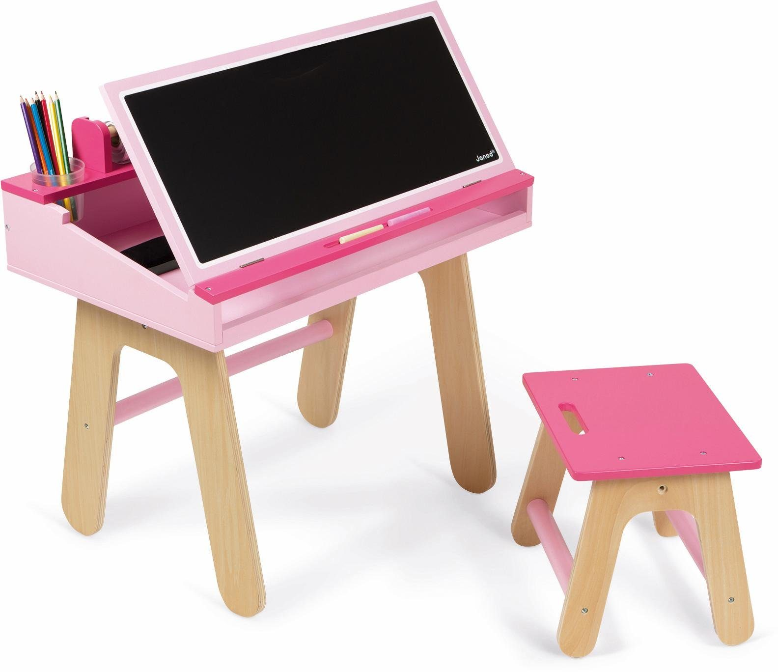 Janod Kinderschreibtisch mit Tafel, »Schreibtisch Kombination, rosa«