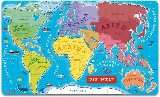 Janod Puzzle »Die Welt«, 92 Puzzleteile