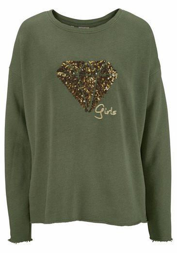 TIMEZONE Sweatshirt, mit Pailletten-Applikation in Diamantenform