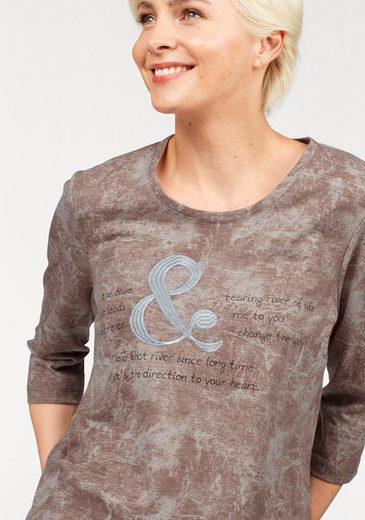 NAVIGAZIONE Rundhalsshirt, mit Druck und Strickerei