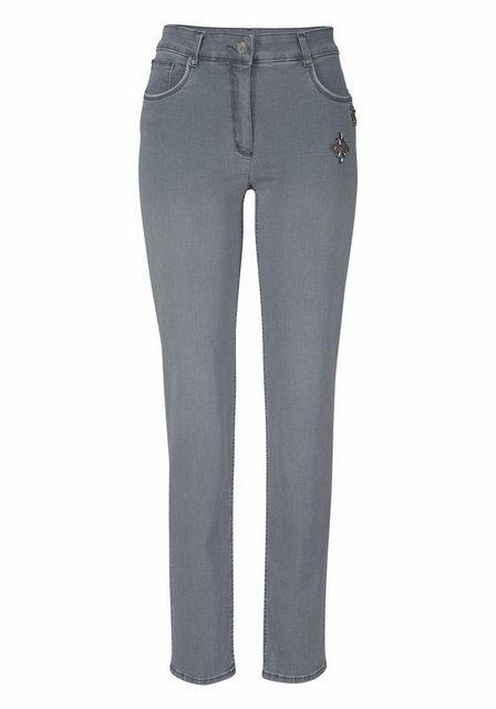 Hosen - bianca Slim fit Jeans »Denver« mit Schmucksteinen am Tascheneingriff ›  - Onlineshop OTTO