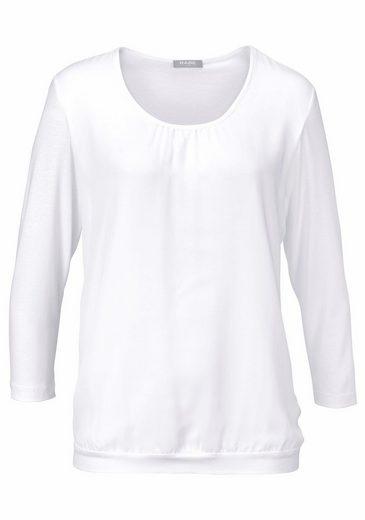 Rabe Rundhalsshirt, aus Materialmix und leicht gerafftem Ausschnitt