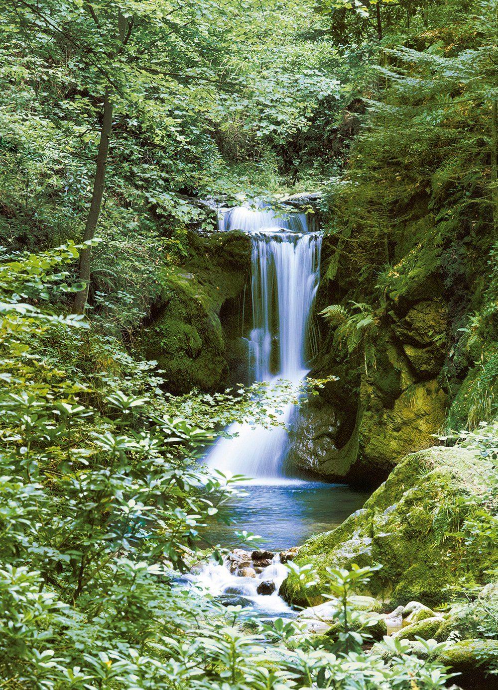 Fototapete »Waterfall in Spring«, 4-teilig, 183x254 cm