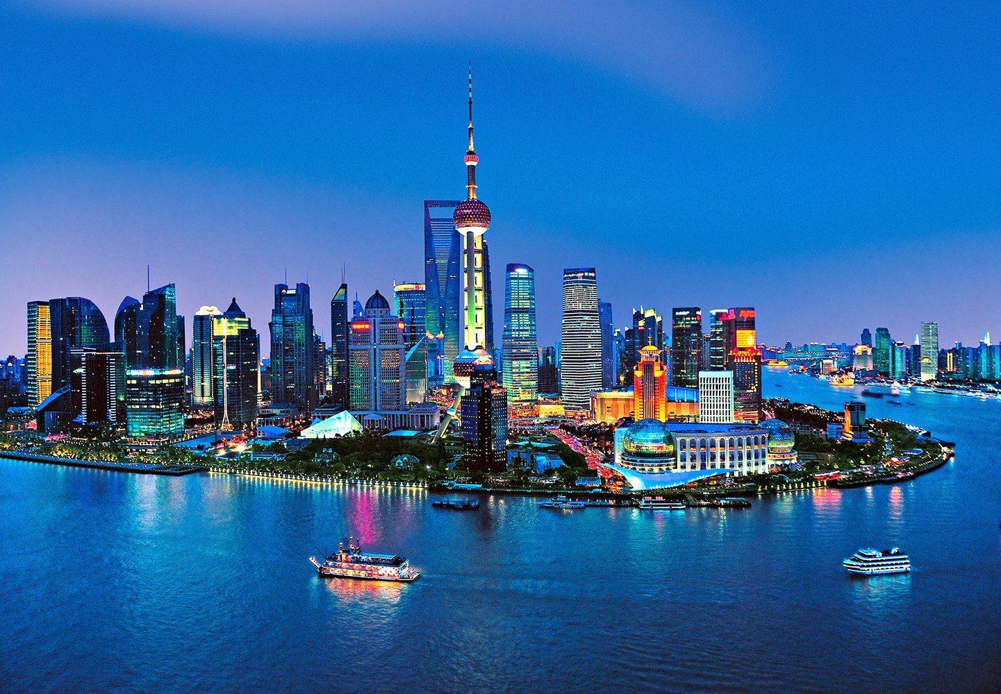 Fototapete »Shanghai Skyline«, 8-teilig, 366x254 cm