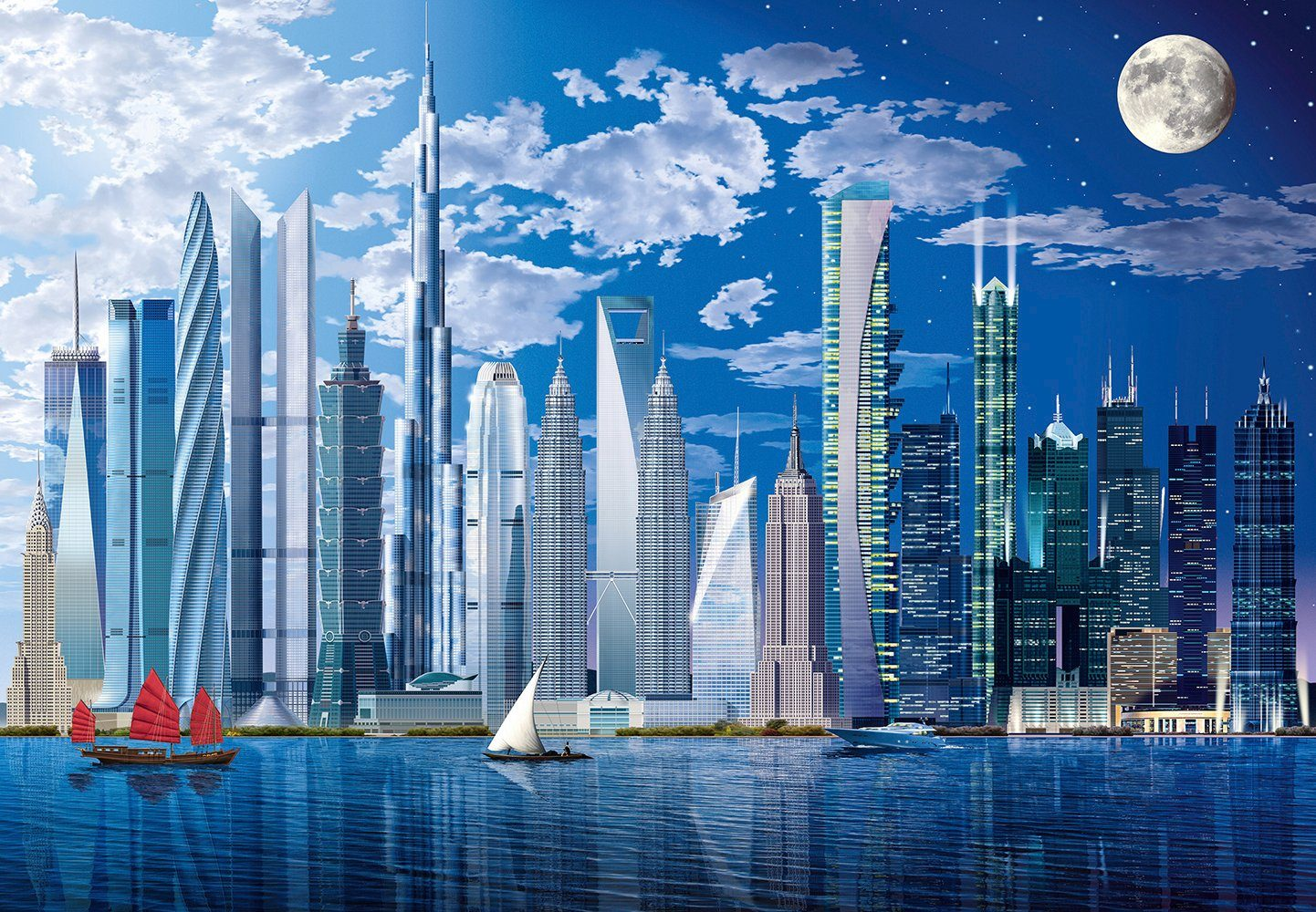 Fototapete »World´s Tallest Buildings«, 8-teilig, 366x254 cm