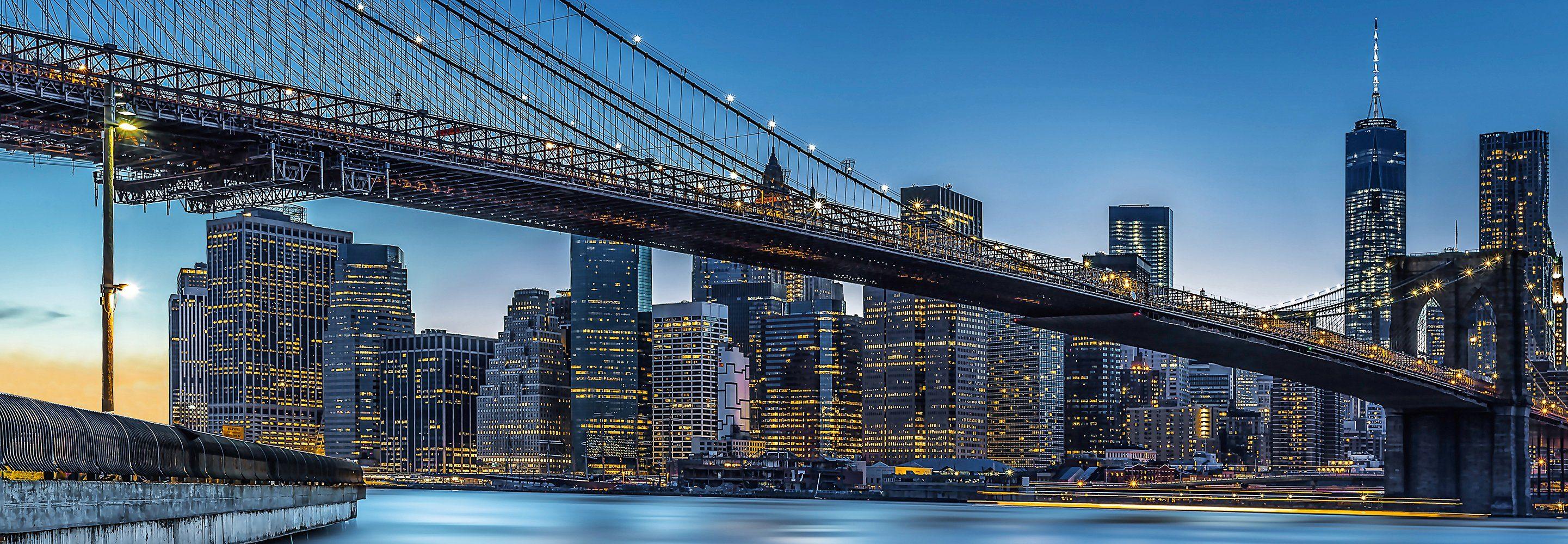 Vliestapete »Blue Hour over New York«, 366x127cm, 4-teilig