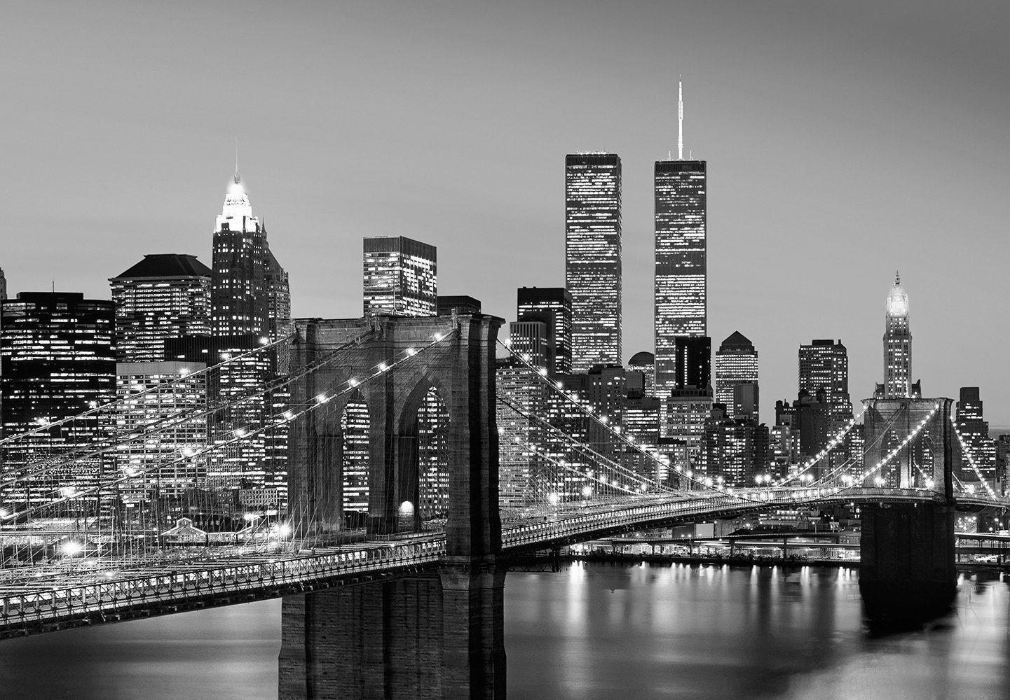 Vliestapete »Manhattan Skyline at Night«, 366x254cm, 8-teilig
