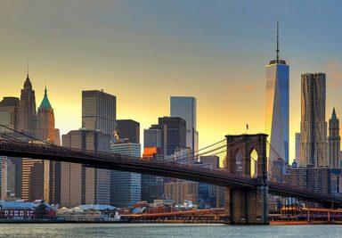 Fototapete »Brooklyn Bridge At Sunset«, 8-teilig, 366x254 cm