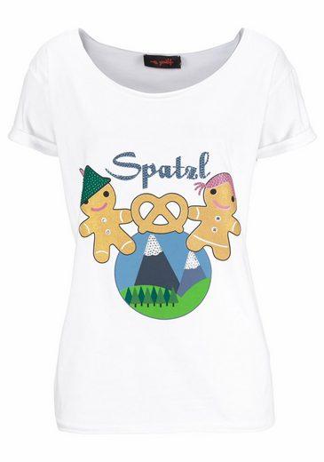 Miss Goodlife Rundhalsshirt Spatzl, mit süßem Lebkuchenprint