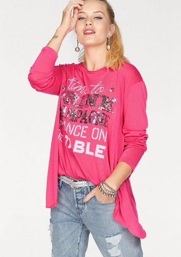 Miss Goodlife Langarmshirt, mit großem Slogan-Print und Pailletten