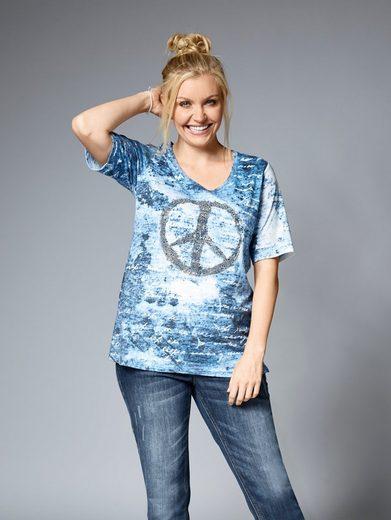 Janet und Joyce by Happy Size Shirt mit Glitzermotiv