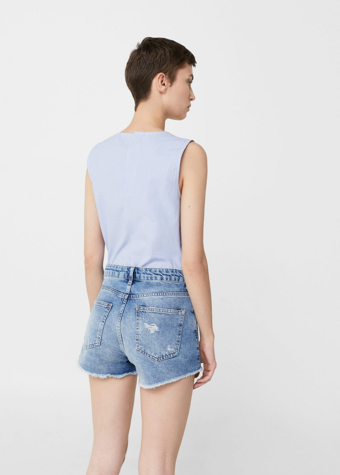 MANGO Bestickte Jeans-Shorts