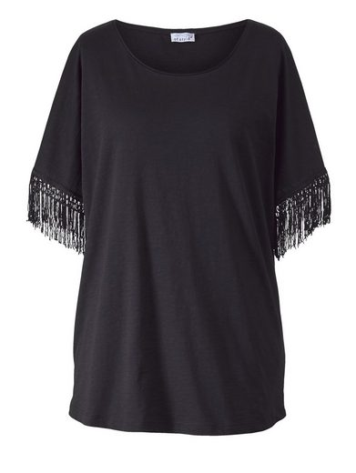 Angel of Style by Happy Size Shirt in Oversize-Form mit Fransen