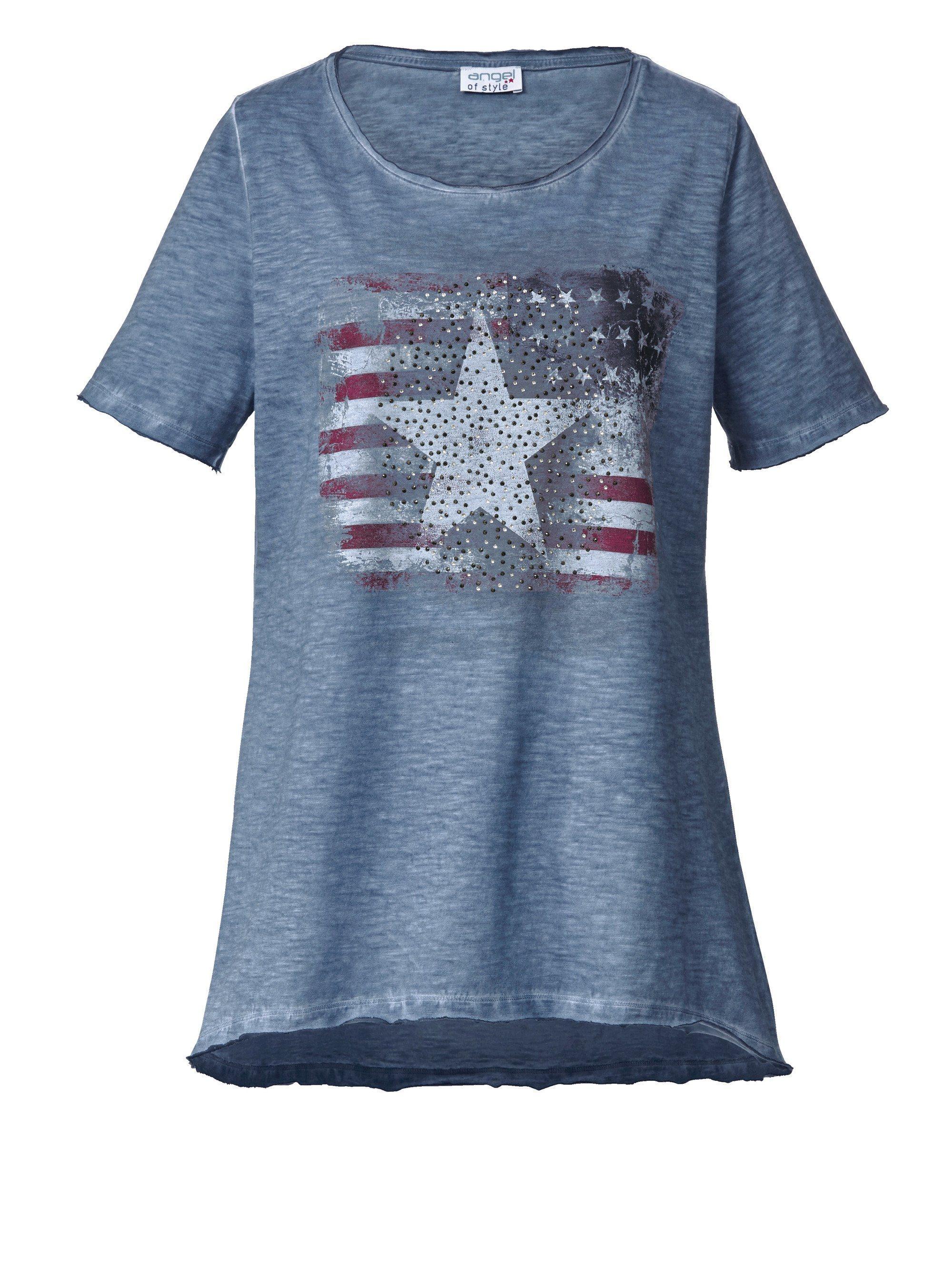 bc93bdda0753e Angel of Style by Happy Size Shirt oil wash mit US-Print und Glitzersteinen