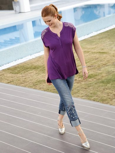 Sara Lindholm by Happy Size Jeans knöchellang mit Strass