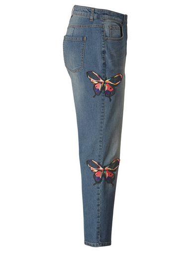 Sara Lindholm by Happy Size Jeans Slim Fit knöchellang mit Applikationen