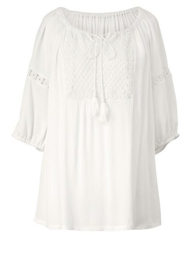 Angel of Style by Happy Size Carmen-Bluse mit Spitze