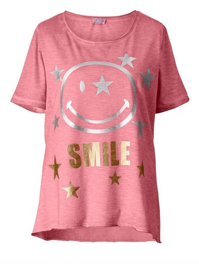Angel of Style by Happy Size Vokuhila-Shirt oil wash mit Smiley