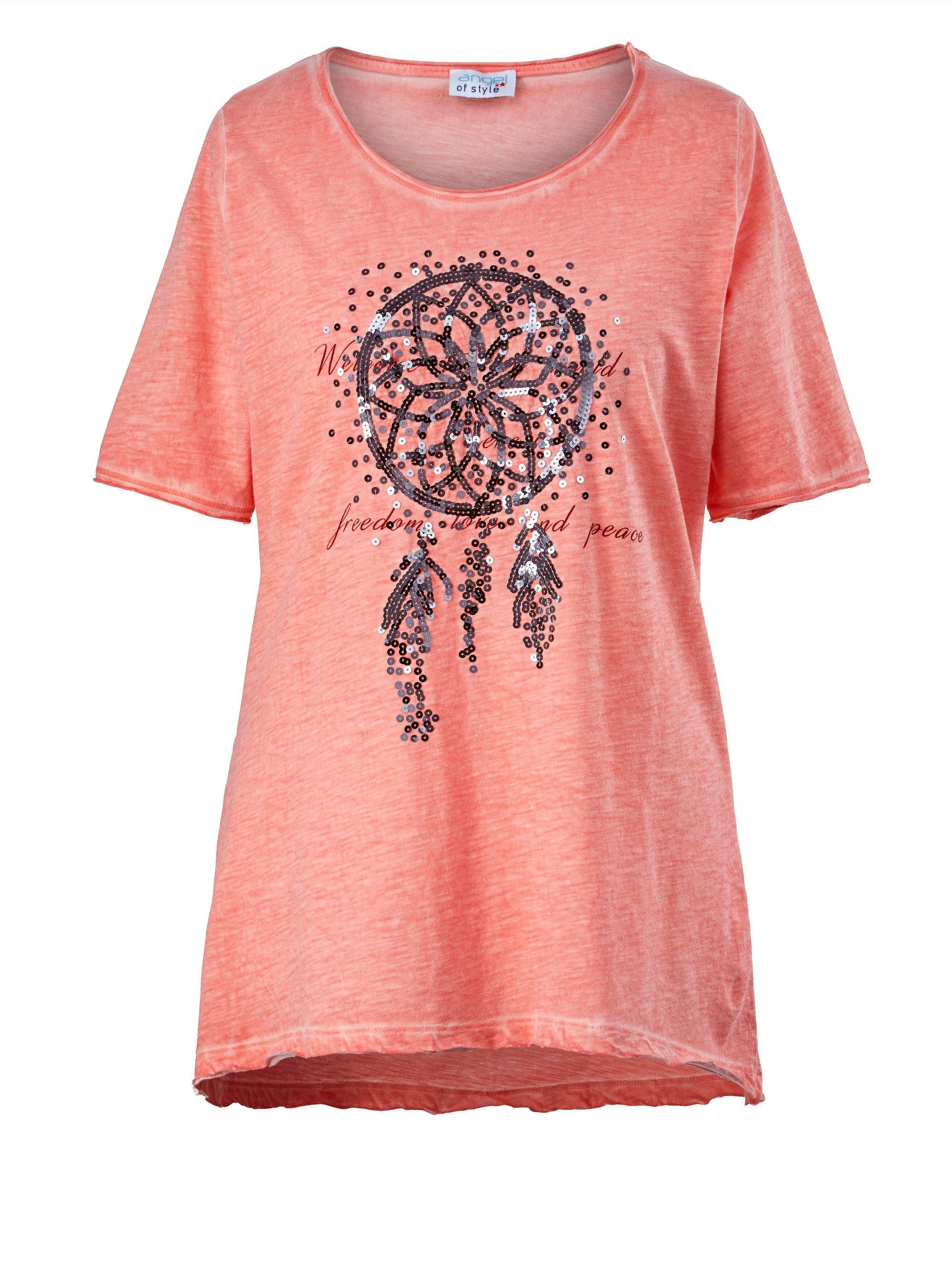 Angel of Style by Happy Size Shirt mit Pailletten-Traumfänger oil wash