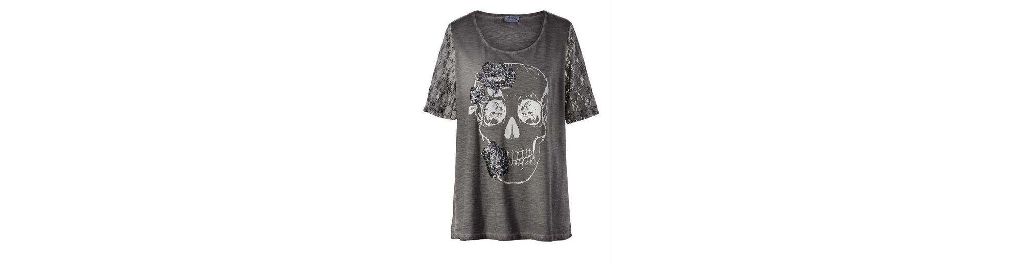 Angel of Style by Happy Size Totenkopf-Shirt mit Pailletten & Spitze oil wash Verkauf Echten Mit Mastercard Zum Verkauf In Deutschland Verkauf Online Beliebt Günstig Online d7CAeiM