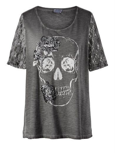 Angel of Style by Happy Size Totenkopf-Shirt mit Pailletten & Spitze oil wash