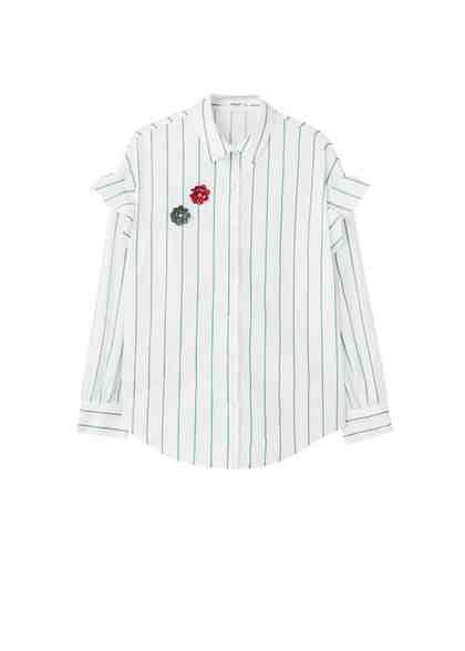 MANGO Streifenhemd mit Broschen