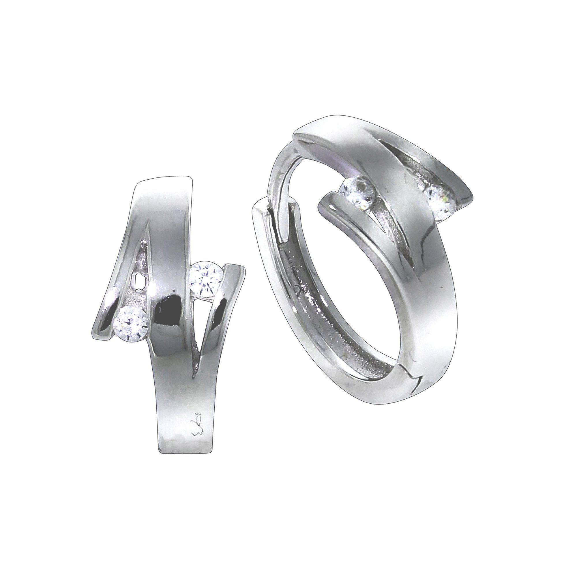 Firetti Klappcreolen »925/- Sterling Silber rhod 4x Zirkonia«
