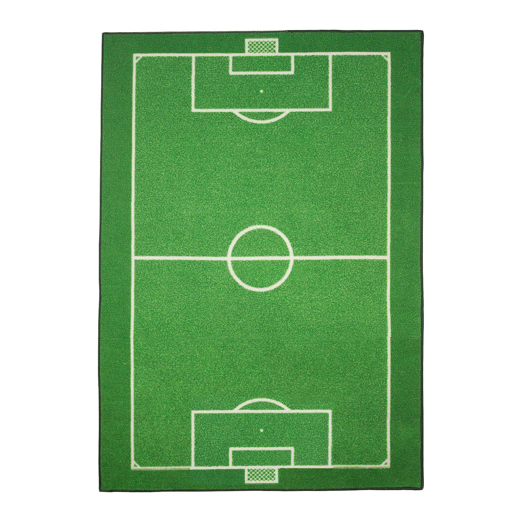 Kinderteppich Fußballfeld, grün, 95 x 133 cm