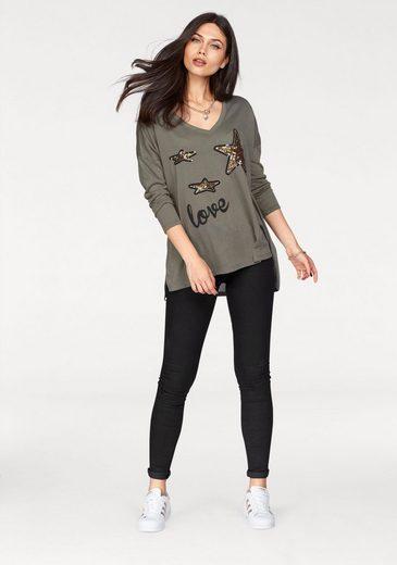 Miss Goodlife V-Shirt, mit Pailletten Sternen
