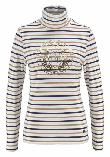 Tom Tailor Polo Team Turtleneck Shirt, The Stripe-look With Metallic Print
