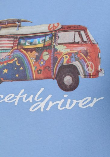 Van One CLASSIC CARS T-Shirt PEACEFUL DRIVER, mit großem BULLI-Print