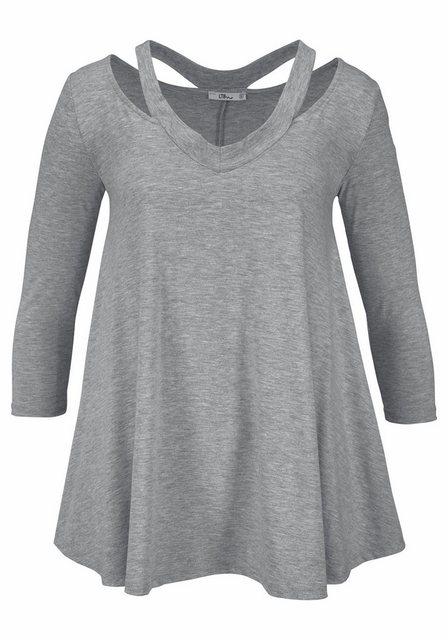 Damen LTB V-Shirt NASISA mit Cut-Outs grau | 08694386725408