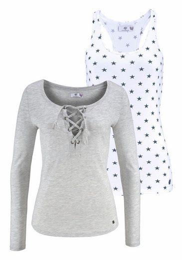 AJC 2-in-1-Langarmshirt (Set, 2 tlg), mit Ringerrücken-Top und Shirt mit Schnürung