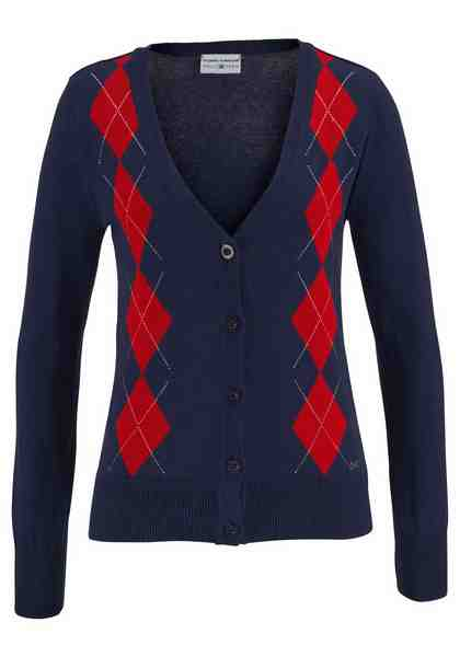 Tom Tailor Polo Team Strickjacke im klassischem Argyle-Rauten-Muster