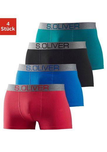 s.Oliver Bodywear Boxer (4 Stück) mit kontrastfarbenem Webbund